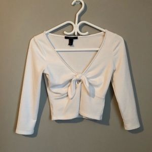 White Tie Front Top